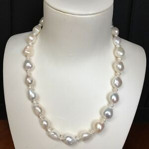 Huge Natural White 12-15mm Huge Freshwater Baroque pearl necklace AAA+