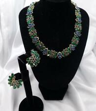 Crown TRIFARI VintageEmerald Green & Deep Blue Rhinestone Necklace Earrings Set