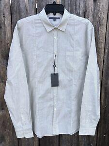 NWT $245 John Varvatos Mainline Slim Fit Cotton Shirt Off White Striped Sz M