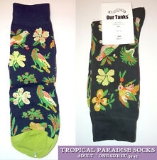 TROPICAL PARADISE SOCKS Green Black Coral MENS Ladies ANKLE HIGH Deep Cuff WOVEN