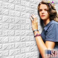 New PE Foam 3D Wallpaper DIY Wall Stickers Wall Decor Embossed Brick Stone US