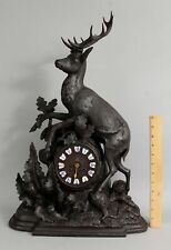 Antique 19thC Carved Walnut Black Forest Mantle Hunting Bull Elk Clock NR