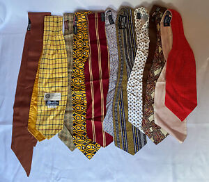 Job Lot of 10 x Vintage Stylish Retro Cravats - Tootal (4) Plus Other Brands (6)