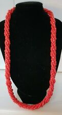60cm Glass Stone? Red Coral Coloured Beaded Necklace Torsade Rope Twist 70 Grams
