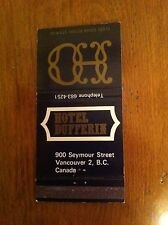 HOTEL DUFFERIN Vancouver British Columbia Canada BC Vintage Matchbook cover old