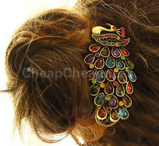 Lady Girl Vintage Peacock Tail Rhinestone Peacock Barrette Hairpin Hair Clip FT