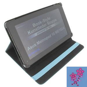 Fleur Strass Poche pour Asus Memo Pad 10 Tablette Style Livre Protection Bleu
