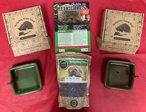 Hedgehog feeding kit & guide - contains food & water bowls, bag of food, guide