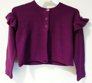 New Tea Collection Cosmic Berry Ruffle Shoulder Cardigan Sweater Size  L / 8-10