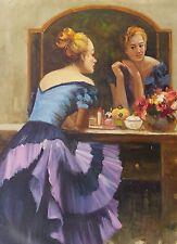 Dipinto Olio su Tela - 50x70 cm - Donna allo Specchio - Quadro Ritratto Dama