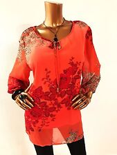 Roz & Ali NWT $44.00 Women 2 in 1 Top Blouse 2X Plus Size 3/4 Sleeve Multi-Color