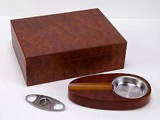 Humidor Set Angelo Wurzelholz-Optik für ca 30 Zigarren Acrylpolymere-Befeuchter