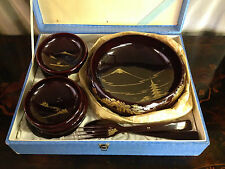 Vtg Japanese Lacquer Ware Salad Set House Decoration Marked ST 9 Pieces w/ Box