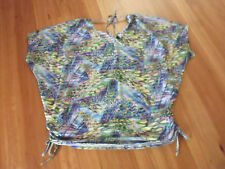 LADIES CUTE MULTI COLOURED STRIPED SHEER SLEEVELESS TOP BY CROSSROADS SIZE 22