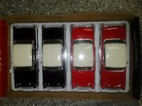 4 pack of 1958 Chevy Impala Die-cast Car 1:24 Jada Toys 8 inch White Walls