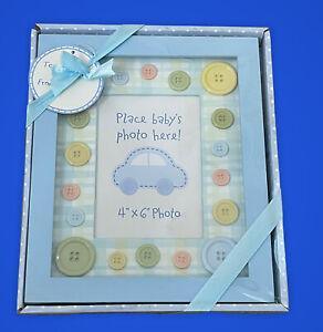 Baby Essentials Blue  button Frame Holds 4x6
