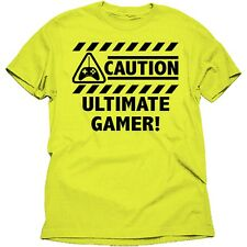 NWT Men's XL 46 48 CAUTION ULTIMATE GAMER! Bright Yellow Graphic Tee by Dynasty
