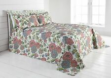 Hotel Quality Quilted Provence Flowers Bedspread Set and Pillowsham Bed Throw