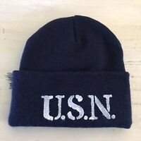 UNITED STATES NAVY - USN US Blue Stenciled Watch Cap Stocking Hat Beanie, NEW!