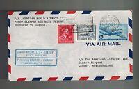 1946 Brussels Belgium to Gander Newfoundland First Flight Air Mail Cover