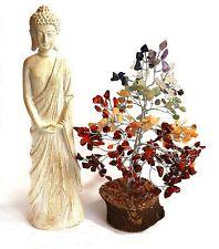 REIKI CHARGED SEVEN CHAKRA GEMSTONE CRYSTAL TREE & LARGE THAI BUDDHA GIFT SET