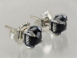 David yurman Sterling Silver Black Onyx Chatelaine Stud Diamonds 6mm Earrings