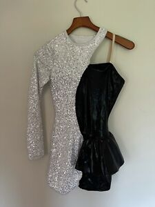 Black White Sequins Dance Acro Costume Contrast Shorts Leotard Asymmetrical AME