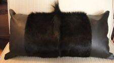 "Springbok Pillow Case Size: 21x10"" Dyed Black Springbok Skin Cushion Case"