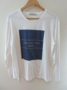 Calvin Klein Jeans Mens T Shirt Size 2XL Crew Neck Long Sleeve White Adult