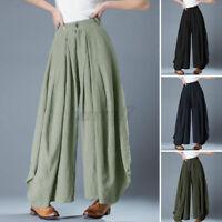 ZANZEA Womens Elastic Waist Wide Leg Pants Culottes Zip Button Closure Trousers
