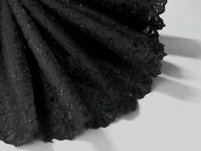 1 lfM. Batist Stoff Madeira Spitzenband Saum Borte Stickerei 13.5 cm Schwarz