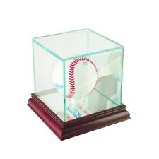 Glass Baseball Display Case With Uv Protection Cherry Wood Mirrored Base / Back