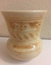 """Italy Pottery Ceramic Stocky Vase 5"""".tall beige."""