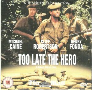 WW2 EPIC = TOO LATE THE HERO star MICHAEL CAINE = VGC PROMO CERT 15