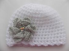 Baby Girl White Crochet Hat with a lovely large Silver flower 0/3 mths