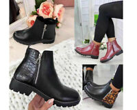 New Womens Chelsea Ankle Boots Flat Ladies Biker Fashion Casual Booties Shoes