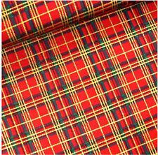 Cotton Poplin Fabric Material - Red Christmas Tartan Fabric - Extra Wide