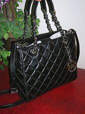 MICHAEL Michael Kors Black Susannah Quilted Lamb Leather Tote Bag Chain
