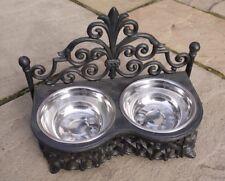 Dog Cat Pet Bowl Black Ornate Feeding Dish Metal Two Bowls Shabby French Chic