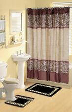Bou Brown leopard 17-Piece Bathroom Set Bath Rugs Shower Curtain & Rings 2Towels