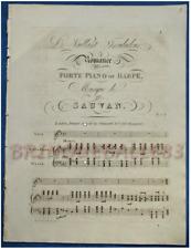 PIANO HARPE CHANT PARTITION SAUVAN ROMANCE LE VAILLANT TROUBADOUR 1819 LONDRES