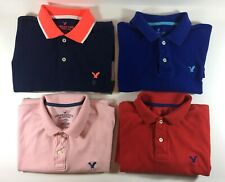 Lot of 4 LG American Eagle Classic Fit Mens Pique Cotton Short Sleeve Polo Shirt