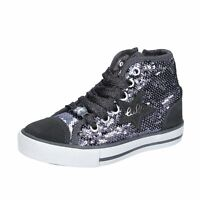 scarpe bambina LULU' sneakers grigio paillettes camoscio BT335