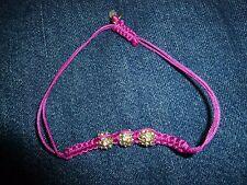 J CREW Pink Silky Twine RHINESTONE Ball Beads ADJUSTABLE Bracelet NWOT