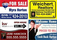 6 FULL COLOR 24x18  2-SIDED YARD SIGNS, REAL ESTATE CORRUGATED PLASTIC