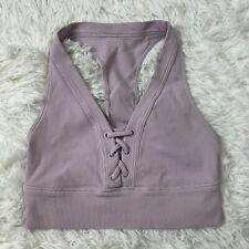 Aerie Offline Womens Ribbed Sports bra Small S Lavender Lace Up