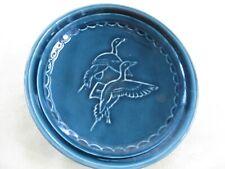 Prinknash Dish Trinket Pin Dish Birds Blue Sgraffito Studio Pottery Small