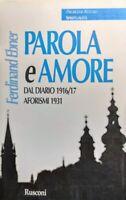 Ferdinand Ebner Parola e amore Dal Diario 1916/17 Aforismi 1931 Rusconi 1998