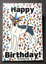 Rat Terrier Dog Happy Birthday Magnet Confetti Celebration Gifts and Home Decor