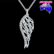 Wholesale 18K Platinum Filled Angel Wing Zircon Crystal Pendant Necklace